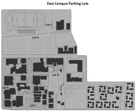 East Campus Parking Map (Lots A through E)