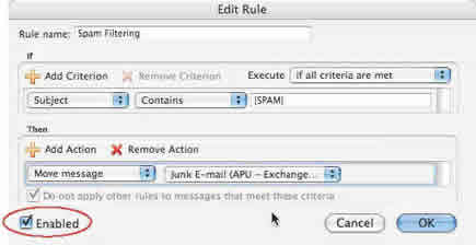 Screenshot of Entourage rule enabled checkbox