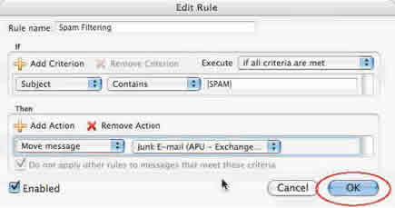 Screenshot of Entourage rule OK button