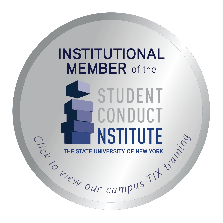 This badge acknowledges that APU is an Institutional Member of the Student Conduct Institute with the State University of New York. Click to view our campus TIX training